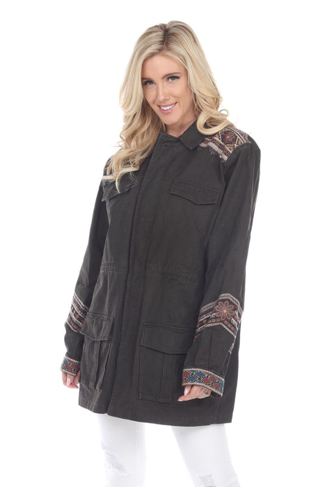 Johnny Was Style W46119 Molly Jo Dark Moss Green Embroidered Zip-Up Cargo Military Jacket Boho Chic