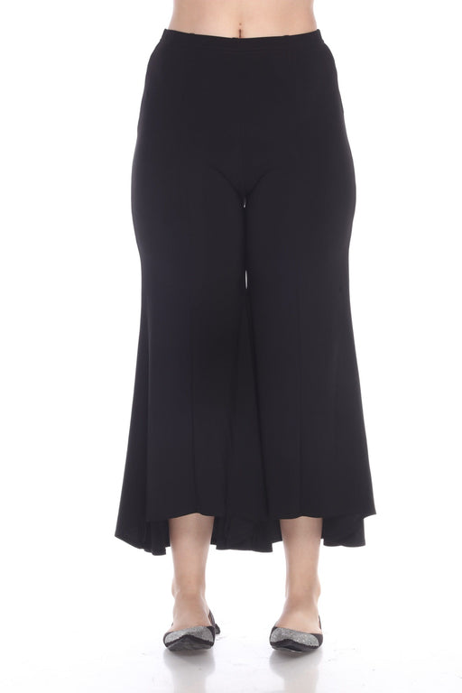 Joseph Ribkoff Style 191108 Black High-Low Hem Cropped Flared Pants