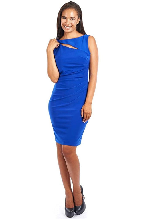 Joseph Ribkoff Style 163006 Royal Sapphire Keyhole Neck Ruched Sheath Dress