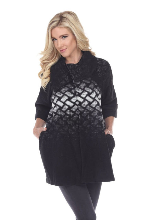 Joseph Ribkoff Style 174390 Black Grey White Crosshatch 3/4 Sleeve Coat