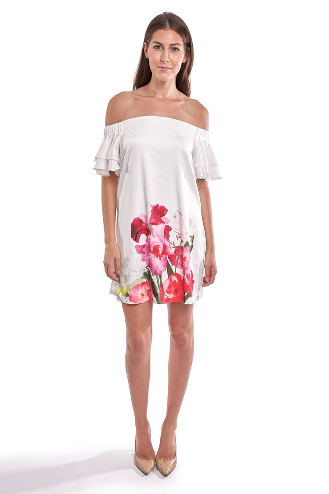 Joseph Ribkoff Style 192660 Off-White Multicolor Floral Print Off-Shoulder Mini Dress