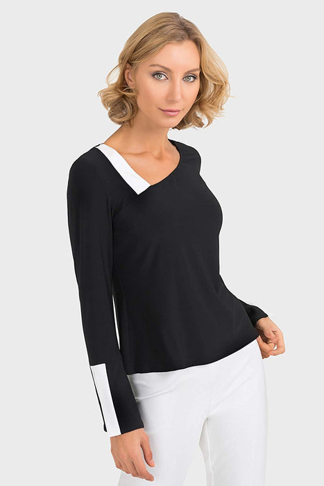 Joseph Ribkoff Style 193136 Black Vanilla Flared Sleeve Contrast Detailing Top