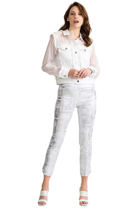 Joseph Ribkoff White Sheer Sleeve Button-Down Jean Jacket 202343 NEW