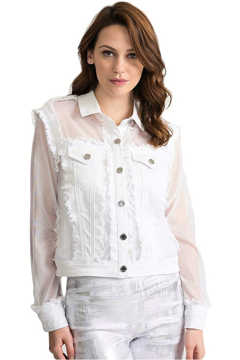 Joseph Ribkoff Style 202343 White Sheer Sleeve Button-Down Jean Jacket