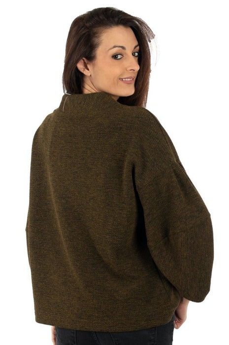 Joseph Ribkoff Olive/Black Cowl Neck Puffed Sleeve Sweater Top 194778 NEW