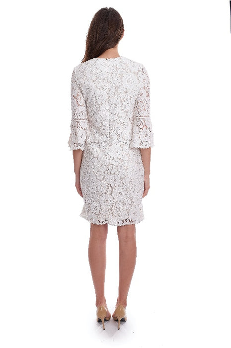 Joseph Ribkoff Vanilla Floral Lace 3/4 Sleeve Shift Dress 192504 NEW
