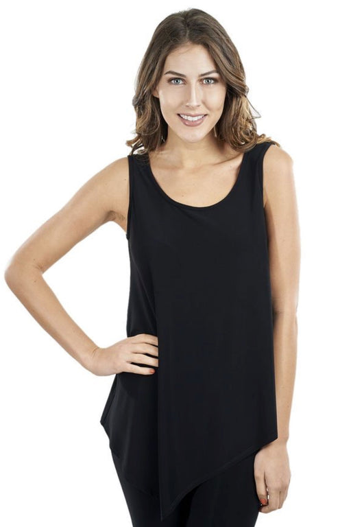Joseph Ribkoff Style 171125 Black Scoop Neck Sleeveless Asymmetric Hem Tank Top