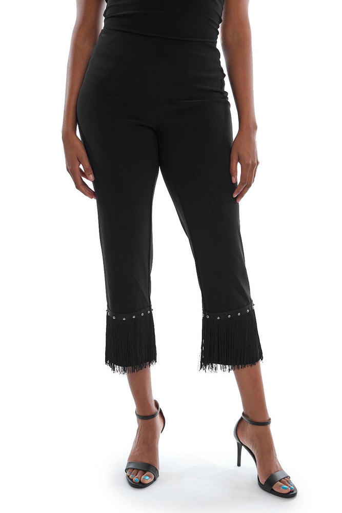 Joseph Ribkoff Style 193123 Black Fringe Trim Slip-On Capri Pants