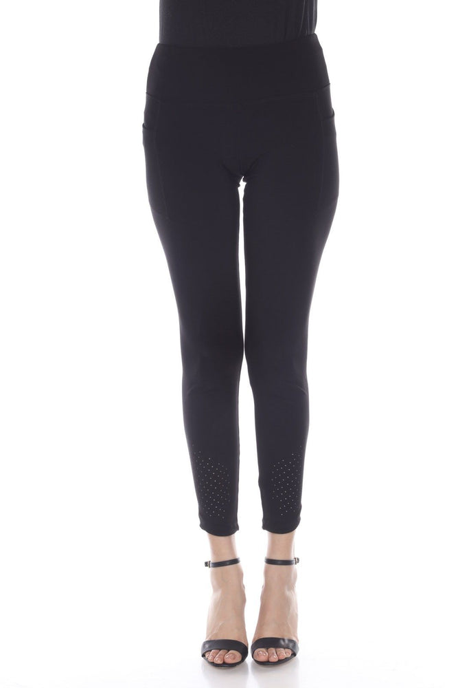 Joseph Ribkoff Style 193099 Black Perforated Slip-On Cropped Leggings