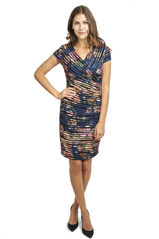 Joseph Ribkoff Style 173668 Blue Multicolor Floral Print Pleated Mock Wrap Sheath Dress