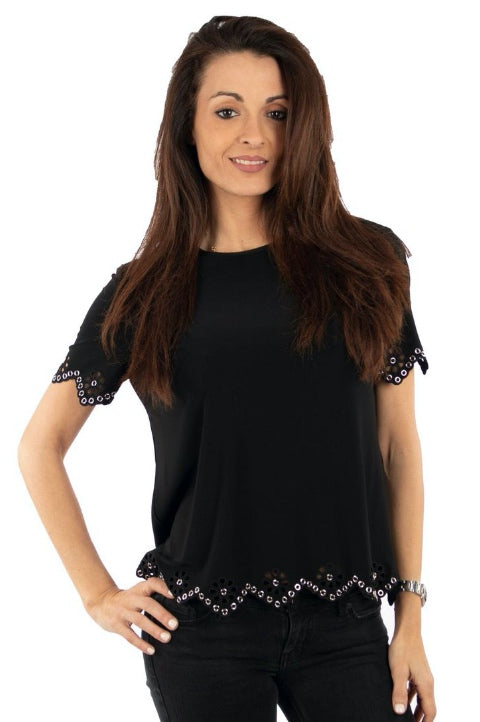 Joseph Ribkoff Style 193155 Black Grommet Accented Zig-Zag Edged Top