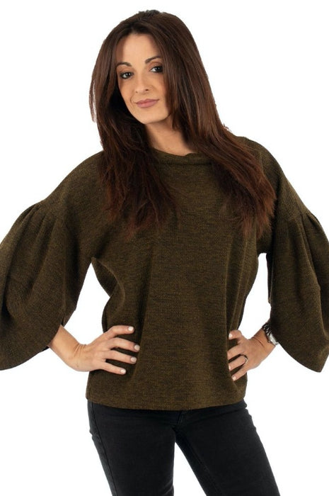 Joseph Ribkoff Style 194778 Olive Black Cowl Neck Puffed Sleeve Sweater Top