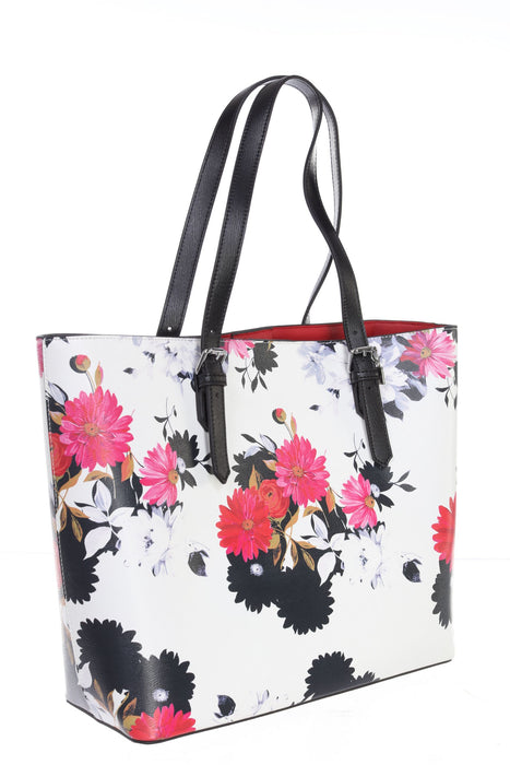 Joseph Ribkoff White/Multi Floral Print Faux Leather Tote Bag 201391 NEW