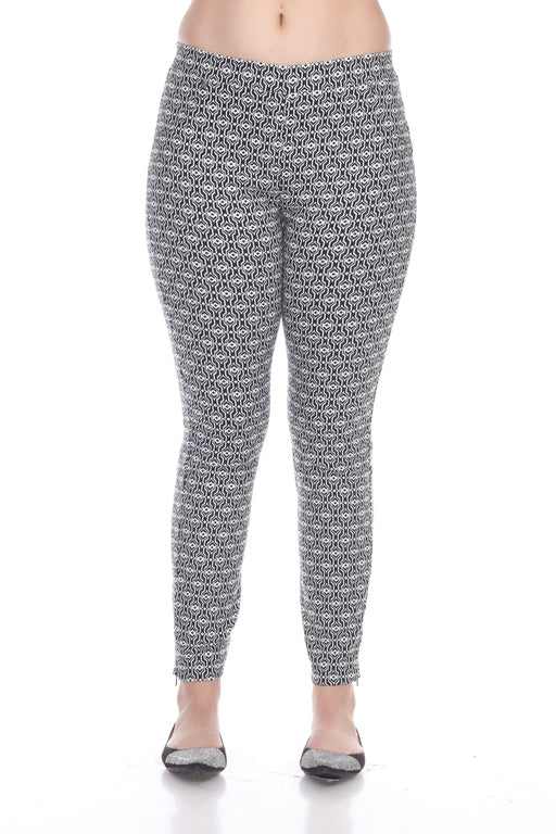 Joseph Ribkoff Style 191842 White Black Geometric Print Side Ankle Zip Pixie Pants