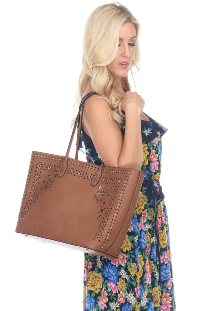 Joseph Ribkoff Cognac Perforated Faux Leather Tote Bag 201243 NEW