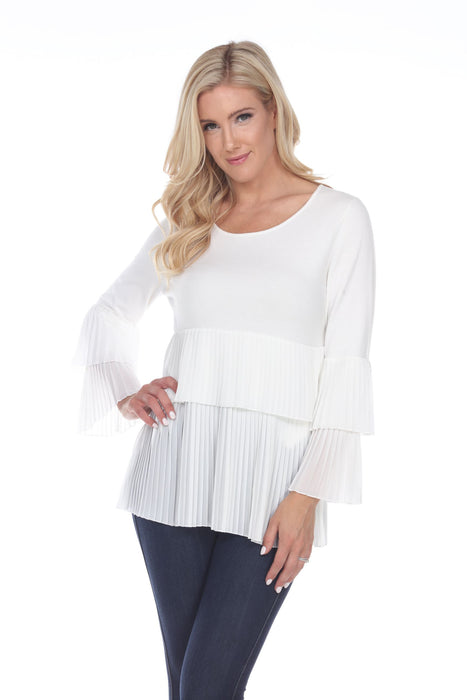 Joseph Ribkoff Style 201036 Vanilla Accordion Pleated Layered Long Sleeve Top