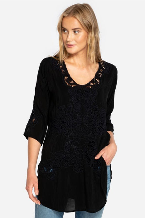 Johnny Was Arlene 3/4 Sleeve Sheer Floral Lace Tunic Top Boho Chic C27318 NEW