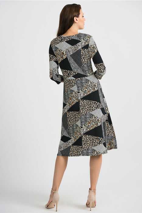 Joseph Ribkoff Black/Multi Blocked Multi Print A-Line Dress 201286 NEW