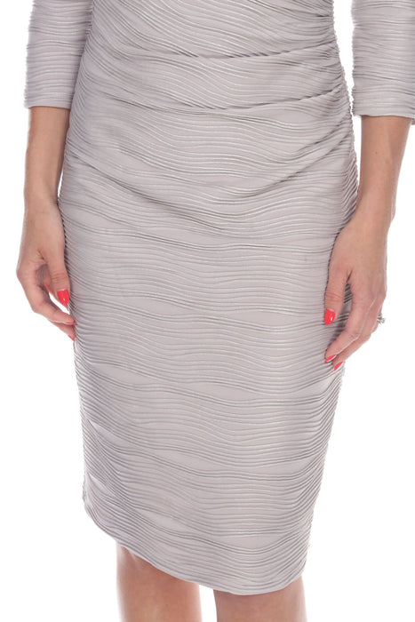 Joseph Ribkoff Beige/Silver Textured 3/4 Sleeve Mock Wrap Cocktail Dress 184412 NEW