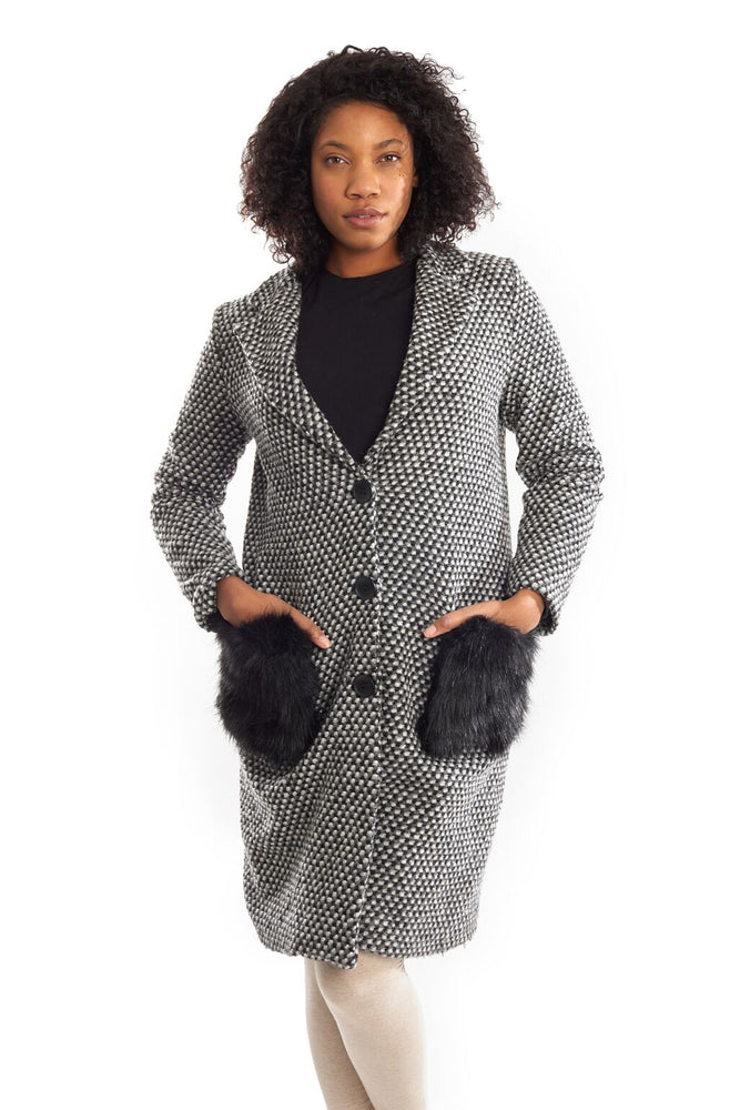Joseph Ribkoff Style 193928 Grey Black Faux Fur Pockets Knitted Coat Jacket
