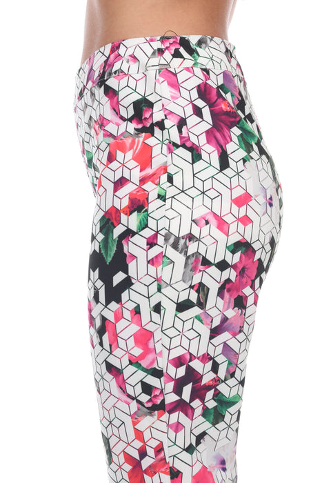 Joseph Ribkoff White/Multi Floral Geometric Print Skinny Cropped Pants 192657 NEW