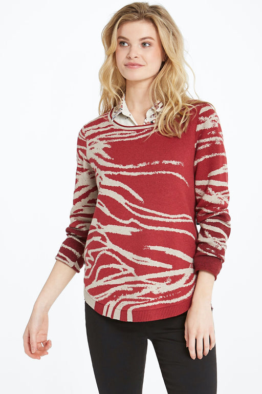 NIC+ZOE Style F201148 Red/Multi In My Nature Long Sleeve Sweater Top