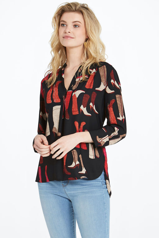 NIC+ZOE Style F201615 Black/Multi These Boots Long Sleeve Blouse