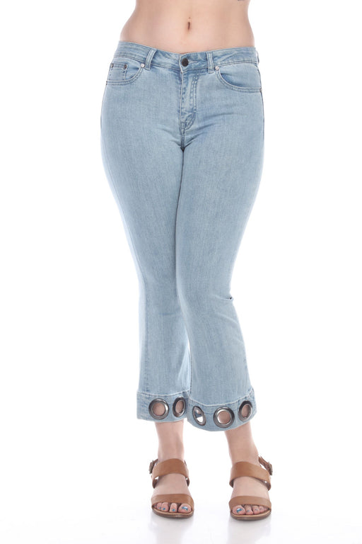 Joseph Ribkoff Style 193978 Light Denim Blue Grommet Accent Cropped Bootcut Pants