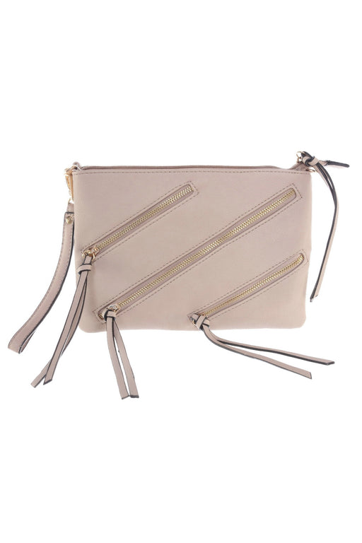 Le Miel Style LR0021 Beige Zipper Accent Faux Leather Crossbody Bag