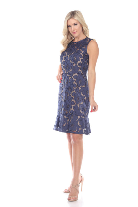 Joseph Ribkoff Navy Floral Lace Overlay Sleeveless Cocktail Dress 191493 NEW