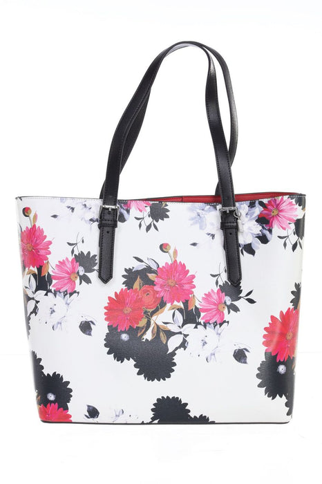 Joseph Ribkoff Style 201391 White Multicolor Floral Print Faux Leather Tote Bag