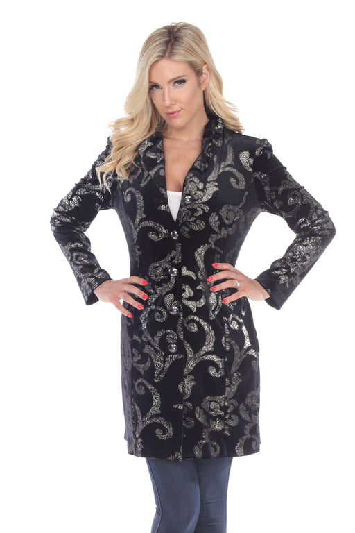 Joseph Ribkoff Style 194515 Black Silver Velvet Damask Print Button-Down Long Jacket