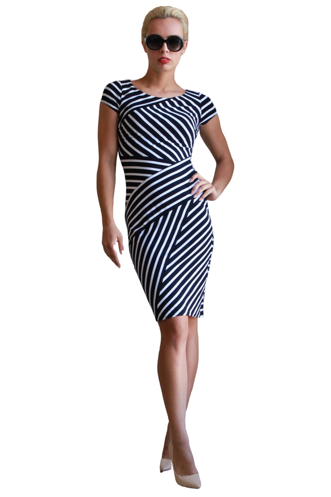 Joseph Ribkoff Style 181308 Midnight Blue/White Striped Short Sleeve Sheath Dress