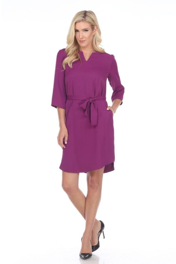 Joseph Ribkoff Style 194420 Violet 3/4 Sleeves Tie-Up Belted Shirt Dress