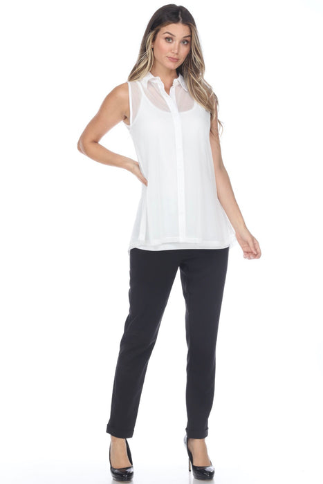 Joseph Ribkoff Vanilla Button-Down Sleeveless Twin Set Top 202387 NEW