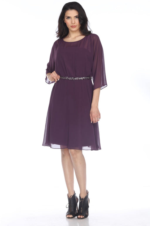Joseph Ribkoff Style 203444 Amethyst Embellished Chiffon Layered A-Line Dress