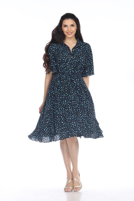 Joseph Ribkoff Style 203416 Black/Blue Floral Print Belted Fit-And-Flare Dress