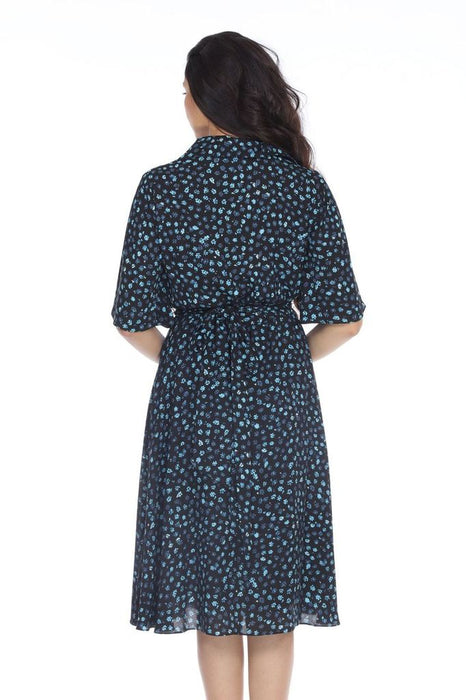 Joseph Ribkoff Black/Blue Floral Print Belted Fit-And-Flare Dress 203416 NEW