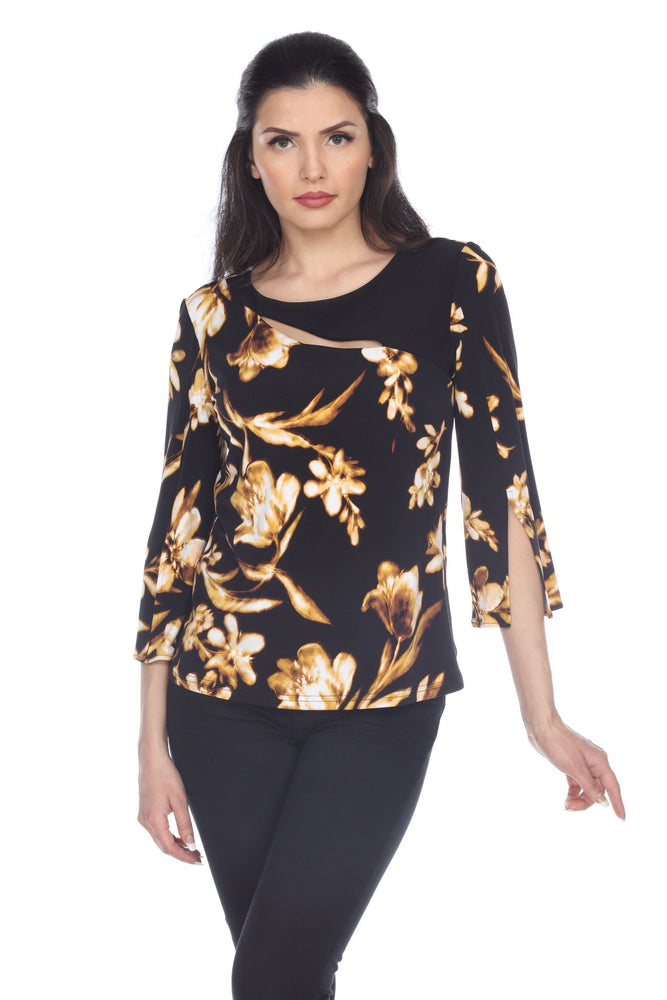 Joseph Ribkoff Style 203266 Black/Brown/Yellow Floral Print Chest Cutout Detail Top