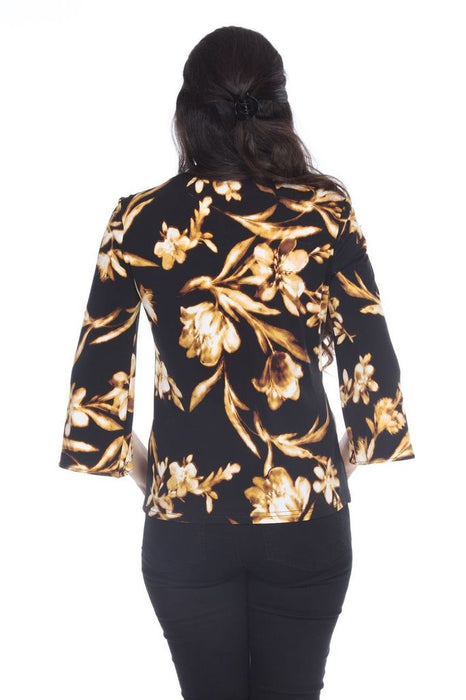 Joseph Ribkoff Black/Brown/Yellow Floral Print Chest Cutout Detail Top 203266 NEW