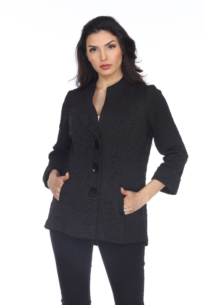 Joseph Ribkoff Style 203007 Black Textured Snakeskin Lightweight Coat Jacket
