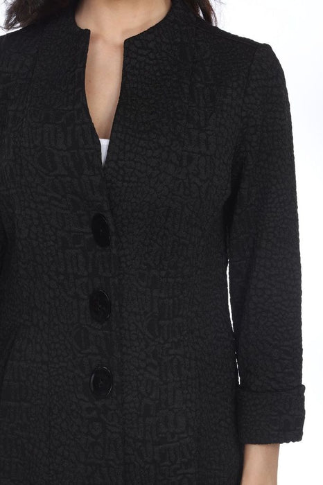 Joseph Ribkoff Black Textured Snakeskin Lightweight Coat Jacket 203007 NEW
