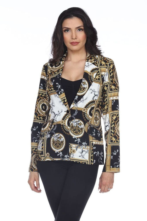 Joseph Ribkoff Style 204317 Black/Gold Filigree Print Long Sleeve Blazer Jacket