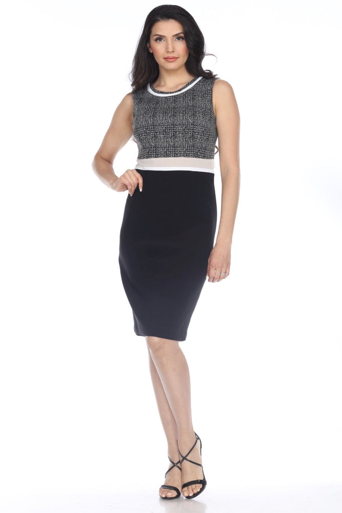 Joseph Ribkoff Style 204193 Black/Grey Color Block Sleeveless Sheath Dress