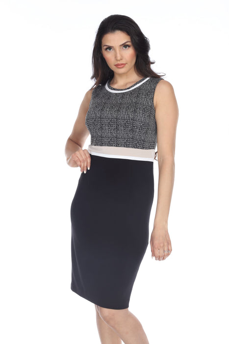 Joseph Ribkoff Black/Grey Color Block Sleeveless Sheath Dress 204193 NEW