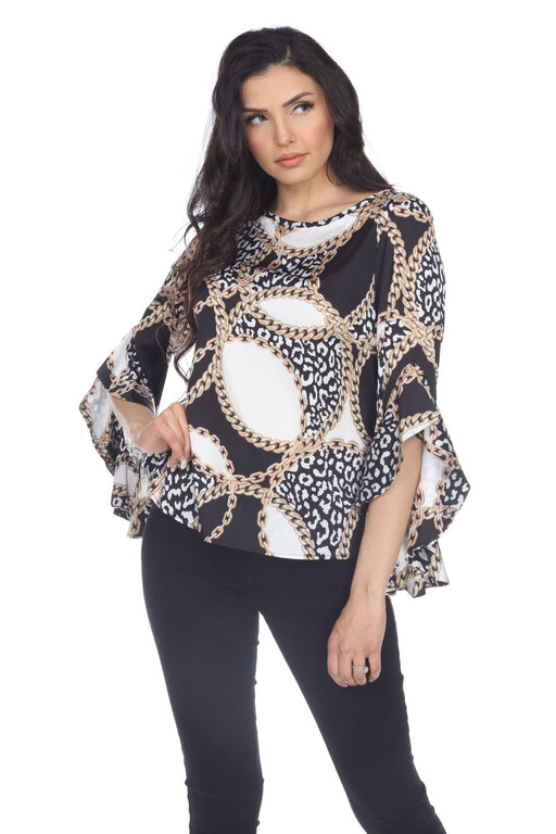 Joseph Ribkoff Style 204414 Black/Ivory/Gold Chain Print Ruffled Sleeves Top