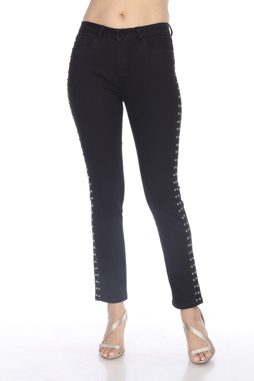 Joseph Ribkoff Style 203060 Black Studded Sides Denim Pants