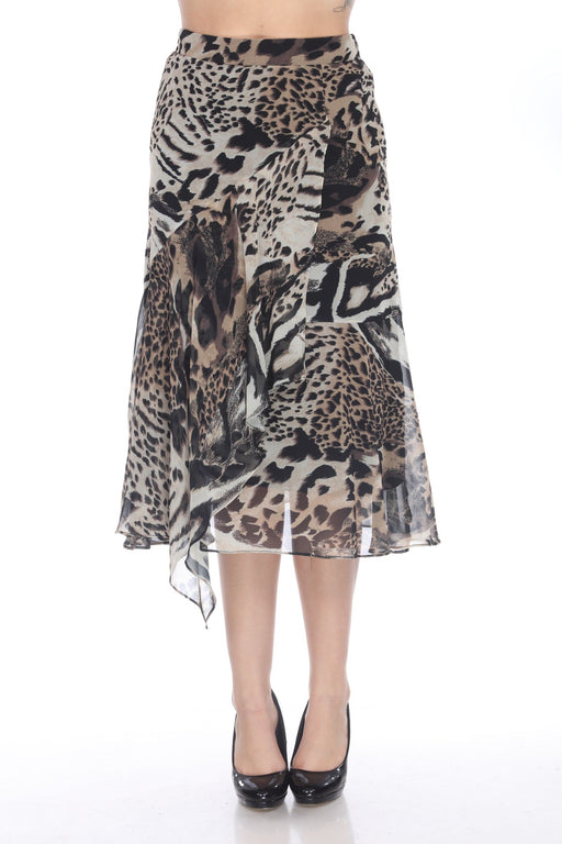 Joseph Ribkoff Style 203558 Black/Multi Animal Print Sheer Layered Midi Skirt