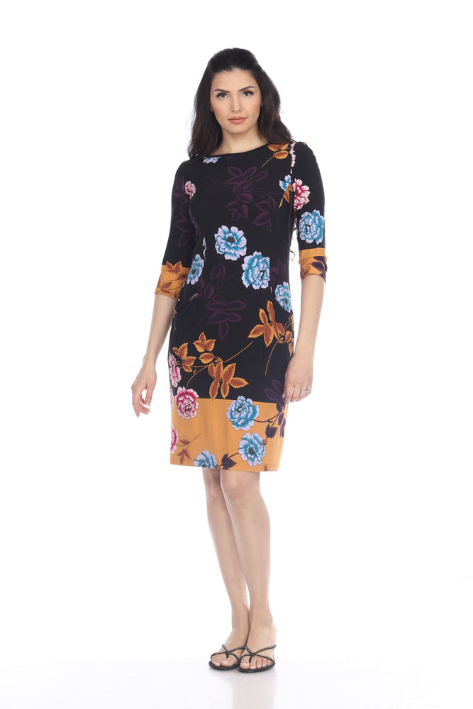 Joseph Ribkoff Style 203500 Black/Multi Floral Print 3/4 Sleeve Sheath Dress