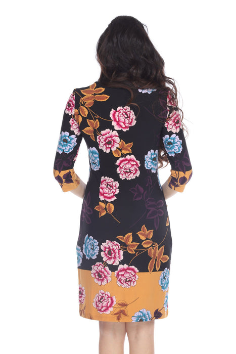 Joseph Ribkoff Black/Multi Floral Print 3/4 Sleeve Sheath Dress 203500 NEW